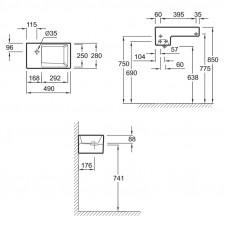 Рукомойник 49 x 28 см Jacob Delafon Terrace EGA012-0