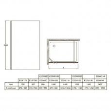 E22W90-BLV ограждение CONTRA фиксированное, затемненное серое стекло, черный профиль /90х200/