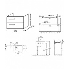 Комплект мебели Jacob Delafon Rythmik EB1300-E10 60 см квебекский дуб