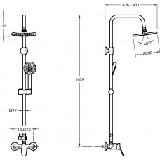 BRIVE Душевая колонна со смесителем E24329-CP