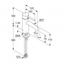KLUDI BOZZ Однорычажный смеситель на умывальник 75 без донного клапана 382723976