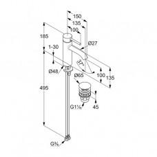 KLUDI BOZZ Однорычажный смеситель на умывальник 100, донный клапан PUSH-OPEN 382883976