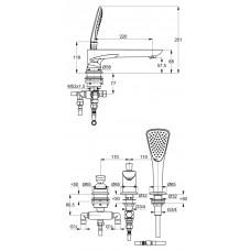KLUDI BALANCE Однорычажный смеситель для ванны и душа, вертикальный монтаж на 3 отверстия 524478775