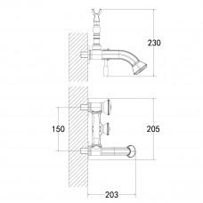 JASMINE Смеситель для ванны с коротким фиксированным изливом, черная бронза LM6612ORB