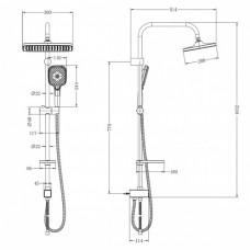 """Душевой гарнитур """"Lemark. LM8811C"""" с фиксированной высотой штанги и верхней душевой лейкой """"Тропический дождь"""""""