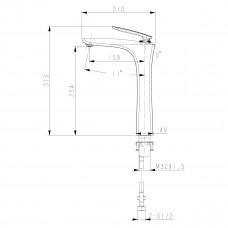 BELLARIO Смеситель для умывальника высокий, монолитный, хром LM6809C