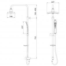 Душевой гарнитур без смесителя c верхней душевой 2-функциональной лейкой Тропический дождь LM8806C