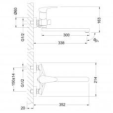LINARA Смеситель универсальный с плоским изливом 300 мм, дивертор с керамическими пластинами, хром LM0451C