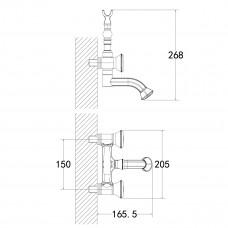 JASMINE Смеситель для ванны с коротким поворотным изливом, бронза LM6614B