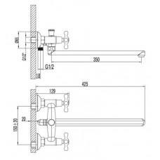 Смеситель для ванны Lemark STANDARD  универсальный с плоским изливом 350 мм, хром LM2101C