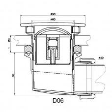 Сифон для душевых поддонов RGW Velplex QYD-06 хром 60 мм . 18241106-01