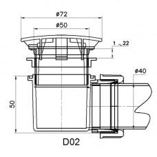 Сифон для душевых поддонов RGW Velplex QYD-02 хром 50 мм . 18241102-01