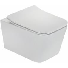 Унитаз подвесной TEKA Formentera 117320000 rimless, с микролифтом, белый, прямоугольный, 36x52 см