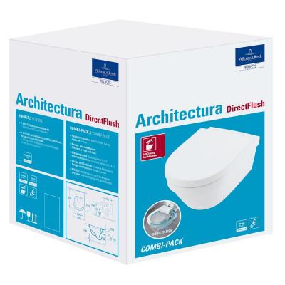 Унитаз подвесной Villeroy & Boch Architectura Directflush (4694HR01) безободковый с крышкой микролифтом